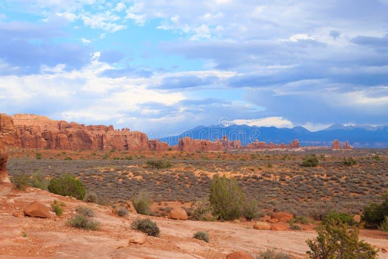 Panorama de los arcos parque nacional, Utah EE.UU. fotos de archivo libres de regalías