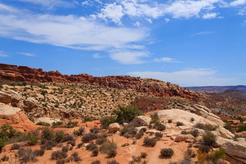 Panorama de los arcos parque nacional, Utah EE.UU. foto de archivo libre de regalías