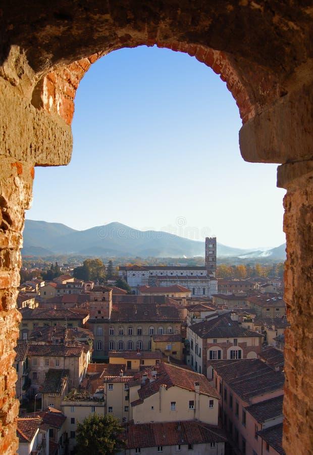 Panorama de Lucca-Italy imagens de stock