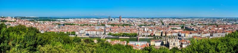 Panorama de Lyon do monte de Fourviere france fotos de stock