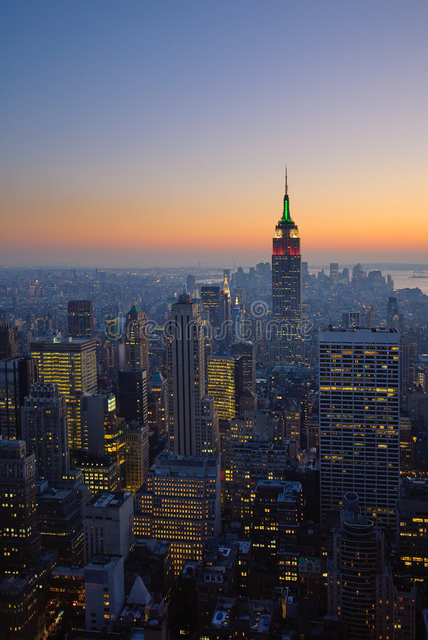 Panorama de Manhattan au coucher du soleil, New York photos stock
