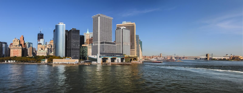 Panorama de Manhattan du sud, paysage urbain de New York City images libres de droits