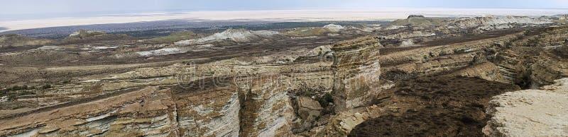 Panorama de mer d'Aral de plateau d'Usturt images stock