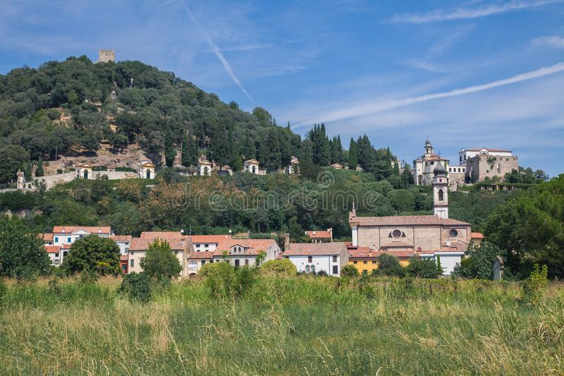 Panorama de Monselice en Padua, Italia foto de archivo libre de regalías