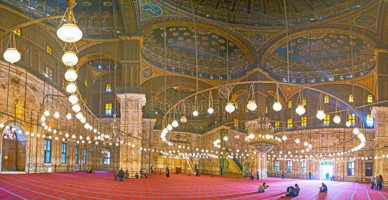 Panorama de mosquée d'albâtre dans la citadelle du Caire, Egypte image libre de droits