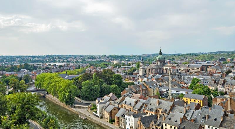 Panorama de Namur, Bélgica fotos de archivo