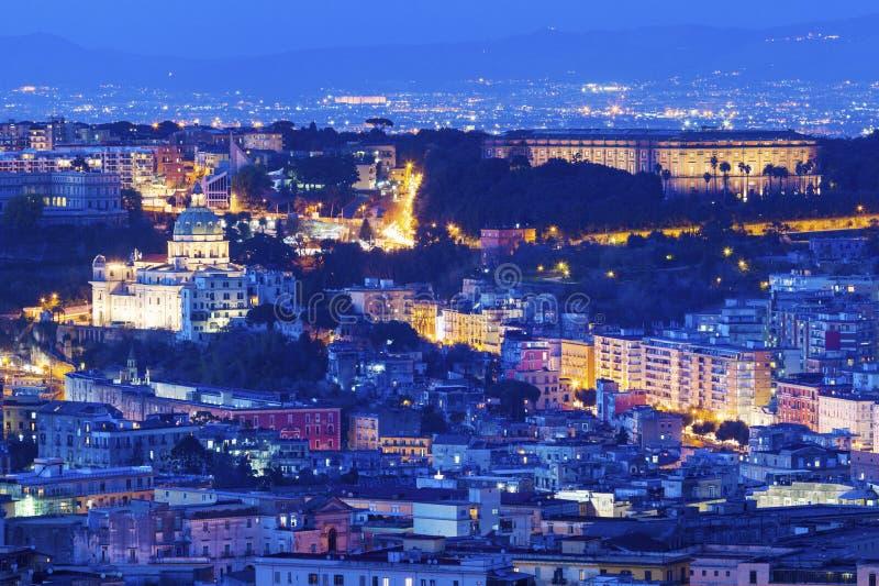 Panorama de Naples la nuit photos libres de droits