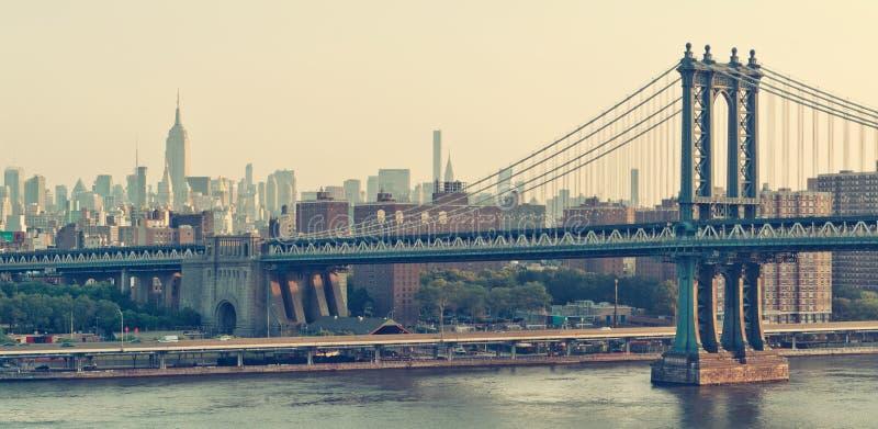 Panorama de New York City con el puente de Brooklyn fotografía de archivo libre de regalías