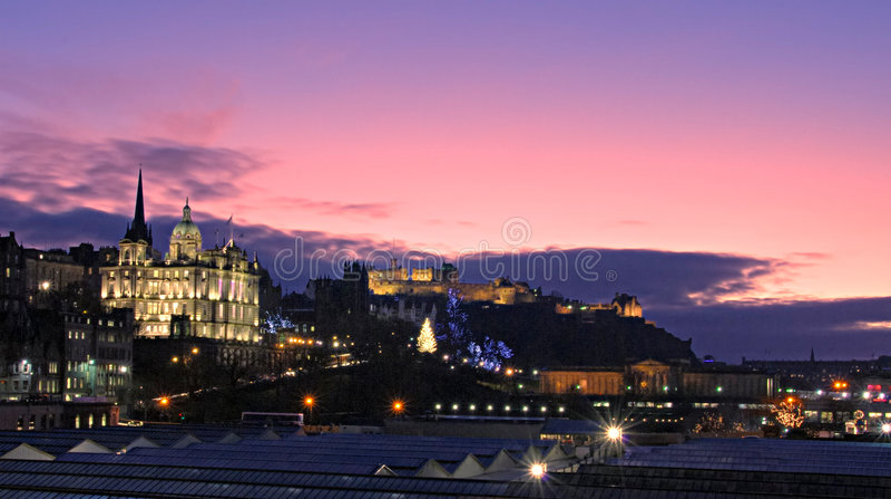 Panorama de Noël d'Edimbourg images libres de droits