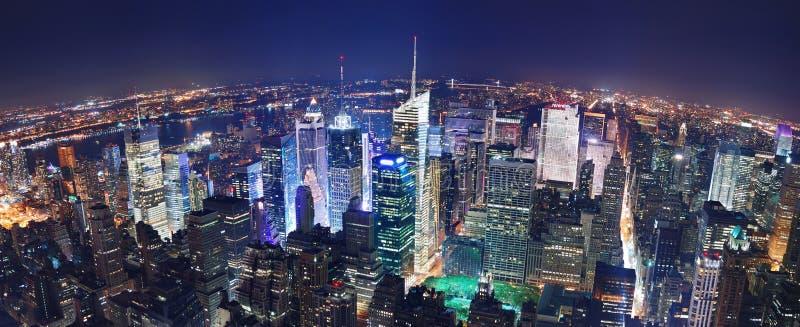 Panorama de nuit de New York City image stock