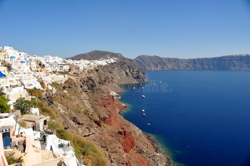 Panorama de Oia y de la caldera Isla Grecia de Santorini imagenes de archivo