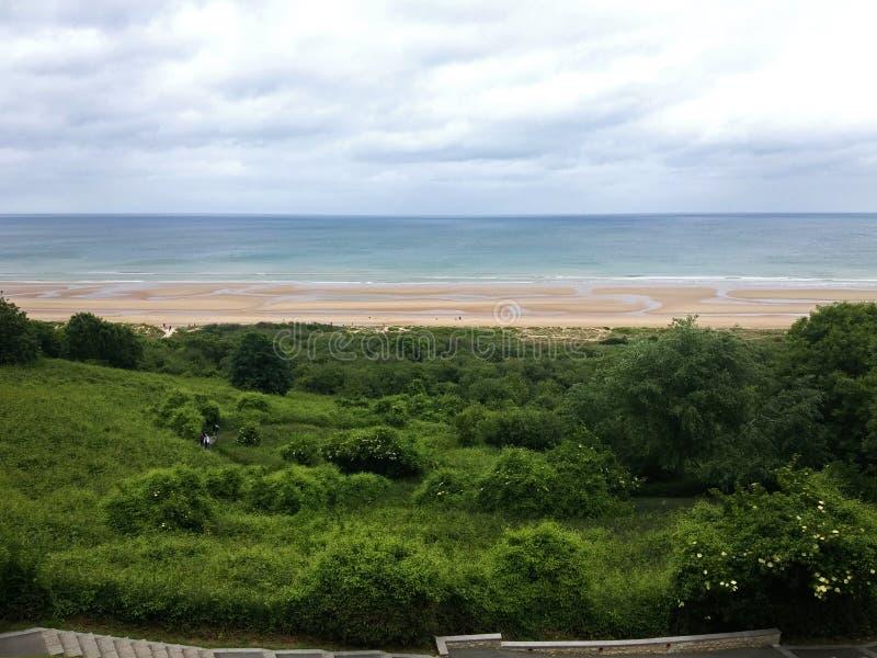 Panorama de Omaha Beach, costa de Normandy fotos de stock