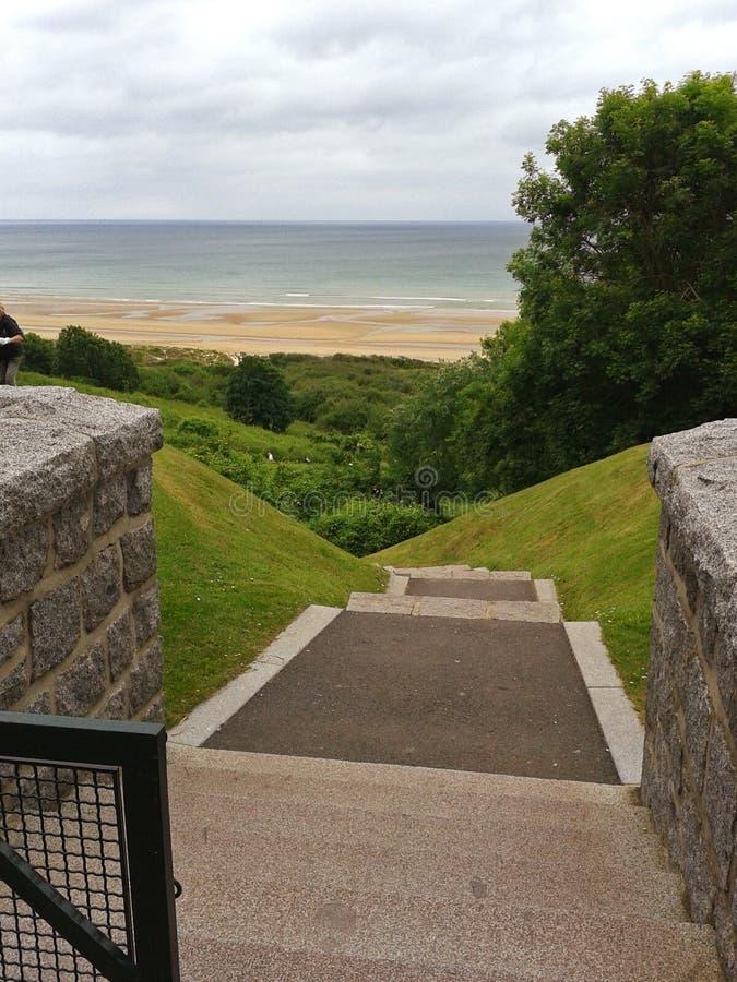 Panorama de Omaha Beach, costa de Normandy fotos de stock royalty free