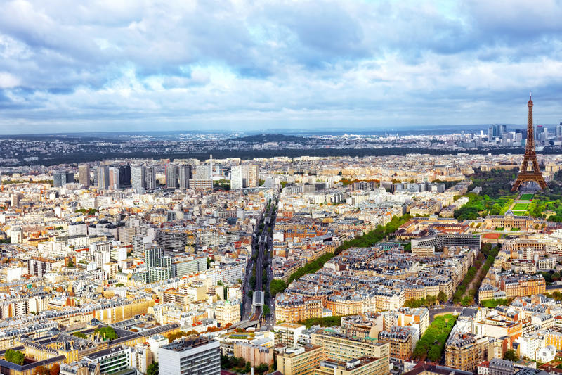Panorama de París de la torre de Montparnasse. Francia. imágenes de archivo libres de regalías
