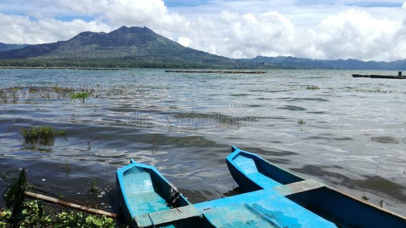 Panorama de paysage de batur de bâti de l'extérieur de du lac de batur images libres de droits