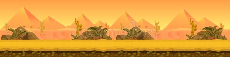 Panorama de paysage de désert illustration de vecteur