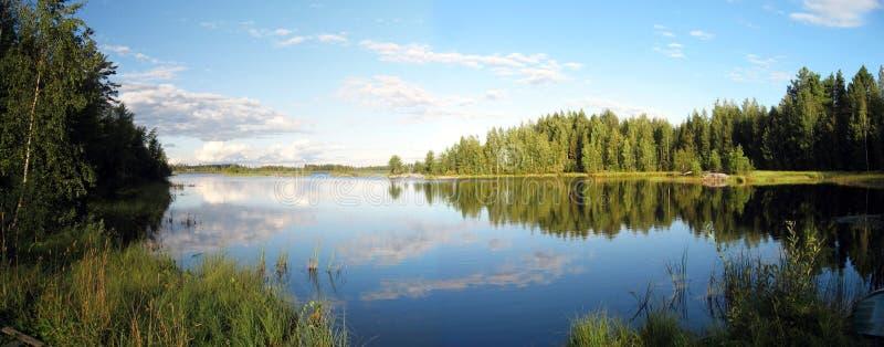 Panorama de paysage de lac photographie stock