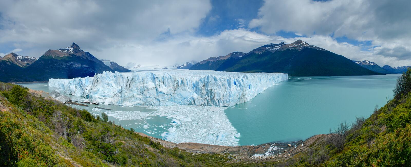 Panorama de Perito Moreno Glacier, lago Argentino foto de stock