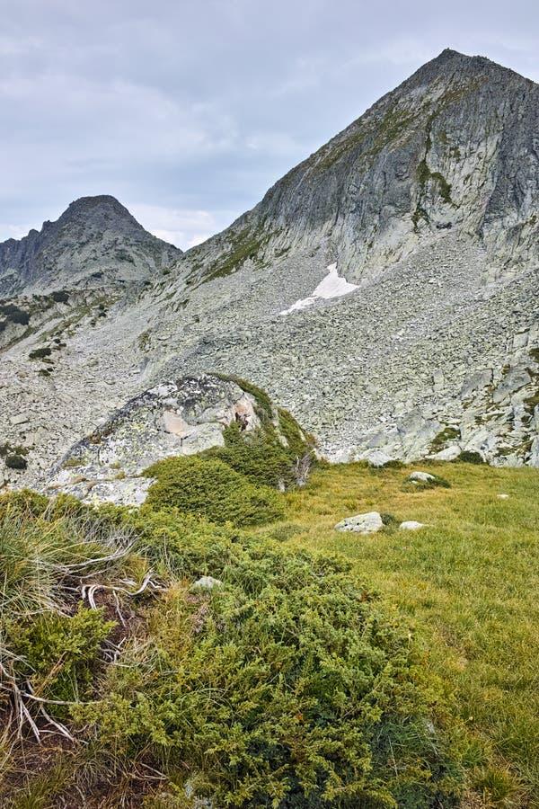 Panorama de picos do dvor de Dzhangal e de momin, montanha de Pirin imagens de stock