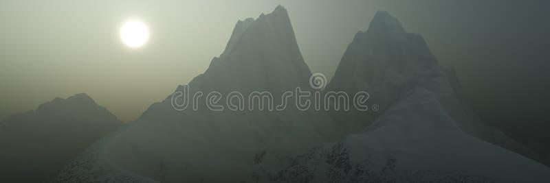 Panorama de picos nevosos ilustración del vector
