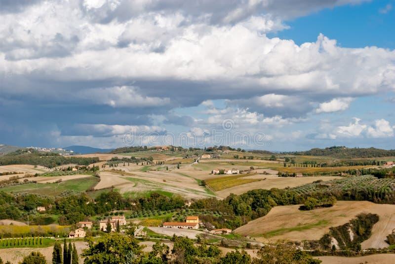 Panorama de Pienza, Toscana imagen de archivo libre de regalías