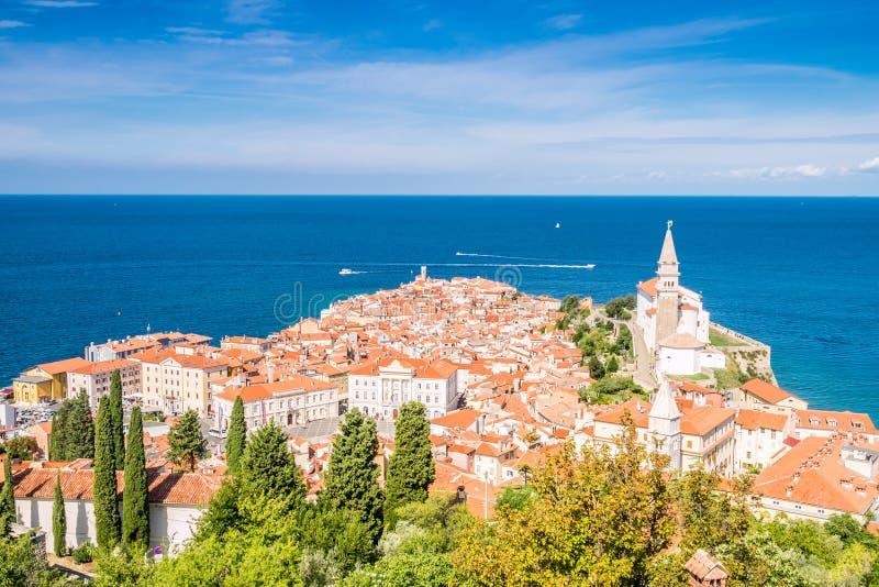 Panorama de Piran hermoso, Eslovenia imágenes de archivo libres de regalías
