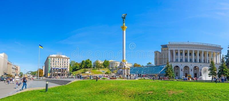 Panorama de place de l'indépendance à Kiev image libre de droits