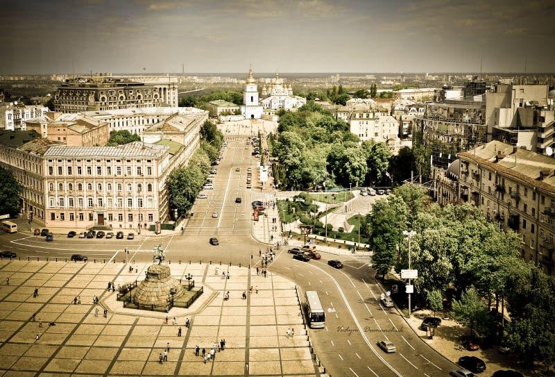 Panorama de place de Sofiya dans Kyiv images stock