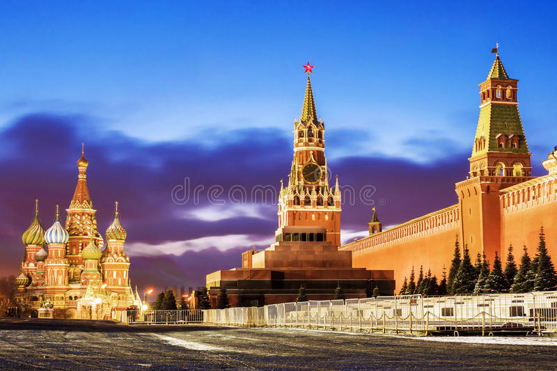 Panorama de place rouge à Moscou image libre de droits