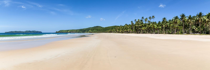 Panorama de plage de Nacpan photo stock