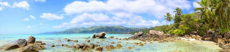 Panorama de plage des Seychelles photos stock