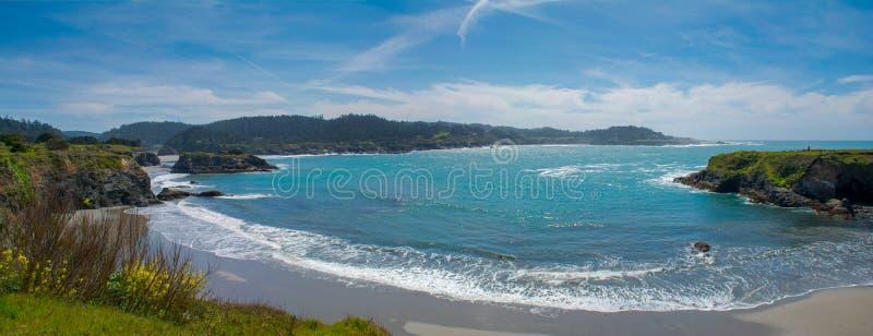 Panorama de plage de Mendocino images libres de droits