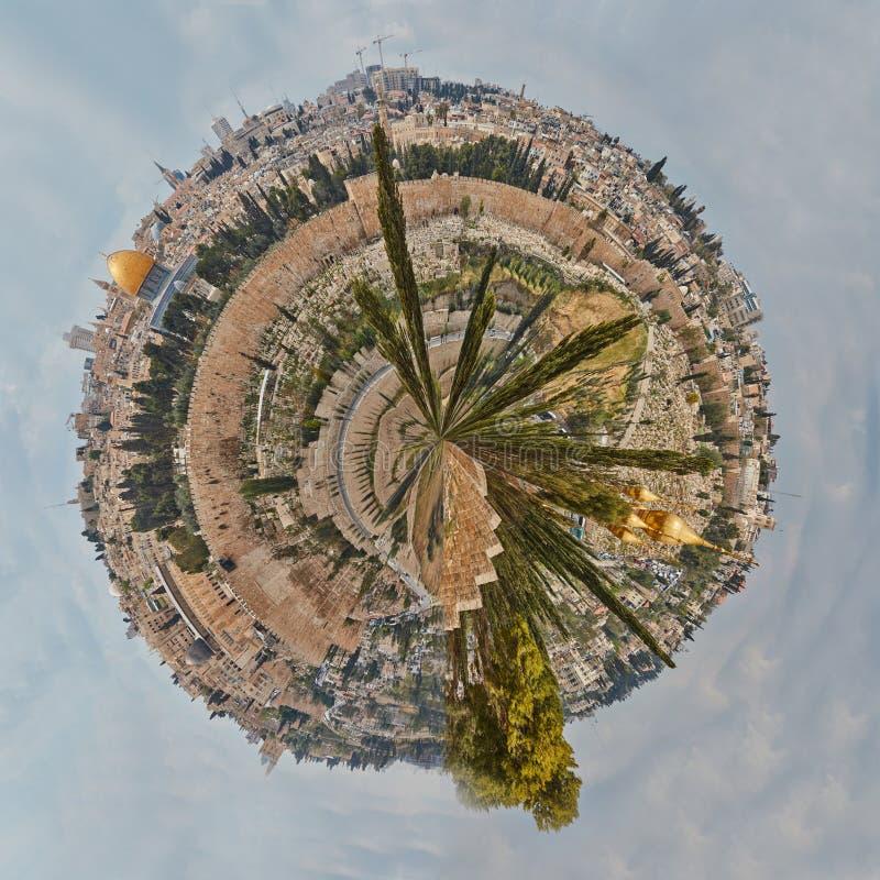 Panorama de planète minuscule de vieille ville de Jérusalem photographie stock libre de droits