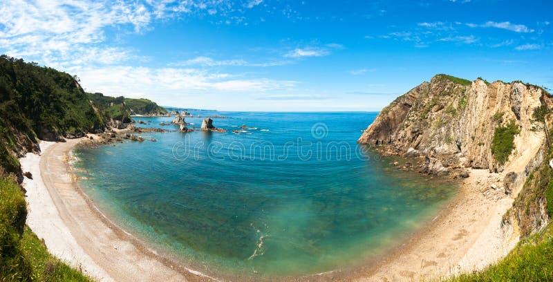Panorama de Playa del Silencio, Asturies, Espagne photo stock