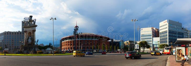 Panorama de Plaza de Espana avec l'arène photographie stock
