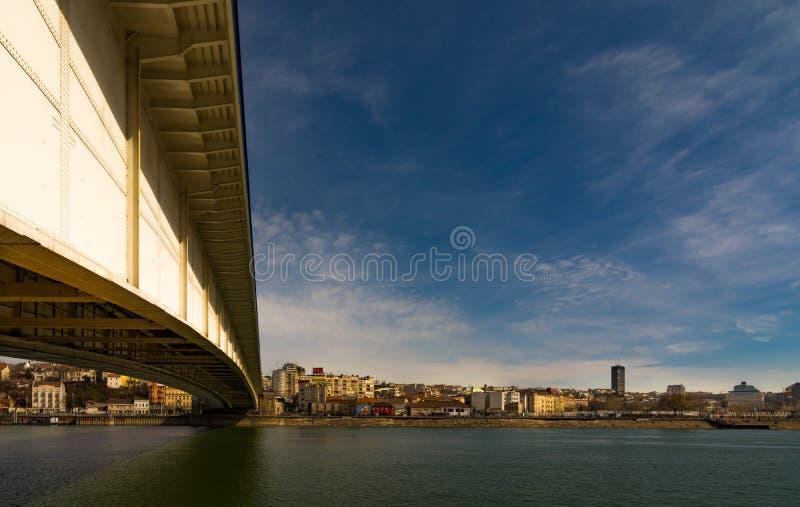 Panorama de pont de Belgrade Serbie image stock