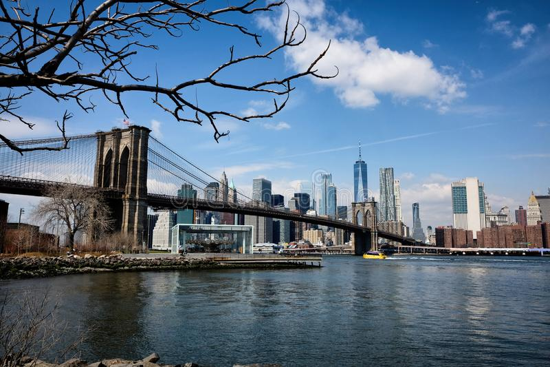 Panorama de pont de Brooklyn à New York City images libres de droits