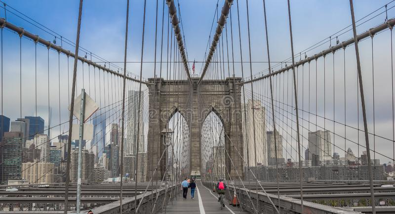 Panorama de pont de Brookyn à New York photographie stock