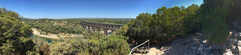 Panorama de Pont du Gard, Francia foto de archivo