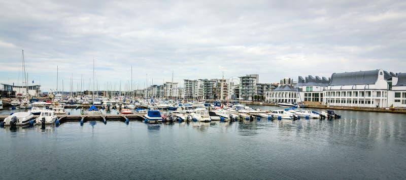 Panorama de port de yacht de Helsingborg image libre de droits