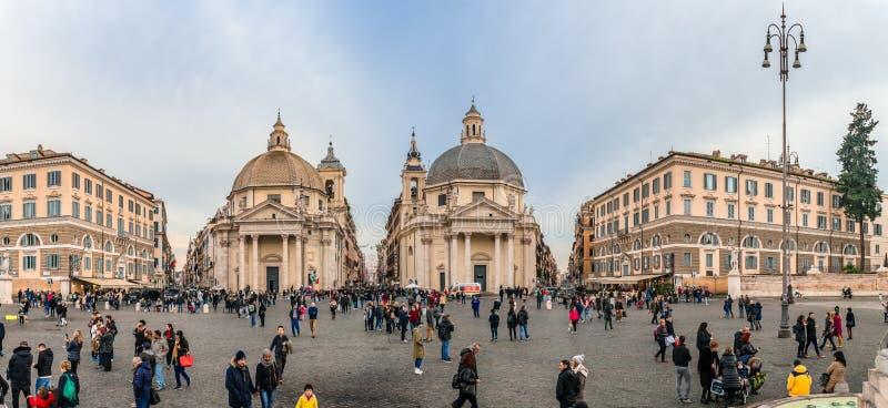 Panorama de Praça del Popolo, em Roma fotografia de stock