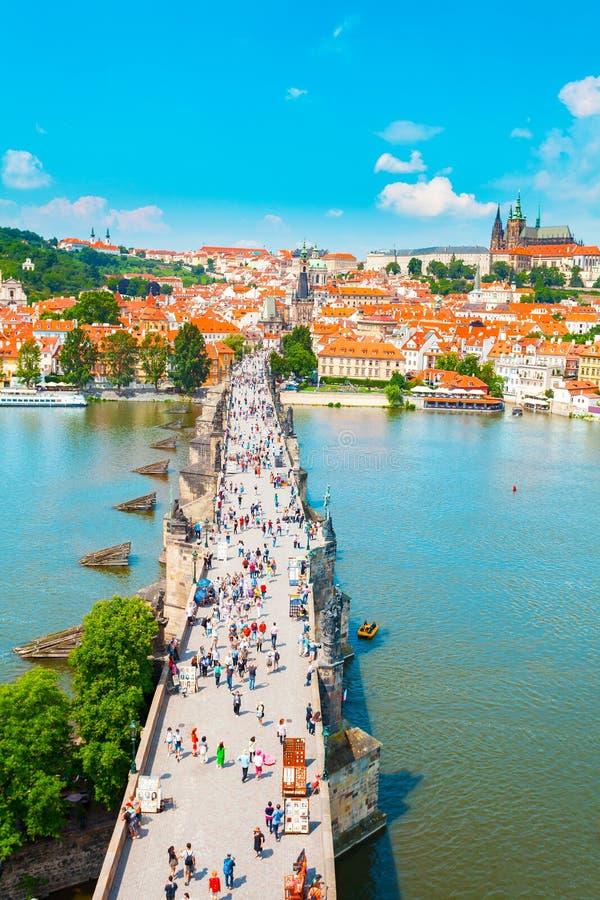 Panorama de Praga de la torre vieja del puente de la ciudad, República Checa imagen de archivo libre de regalías