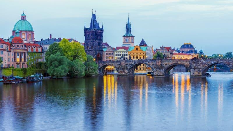Panorama de Praga, república checa imagem de stock