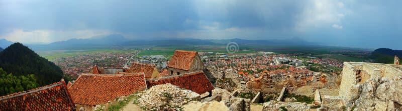 Panorama de Rasnov imagenes de archivo