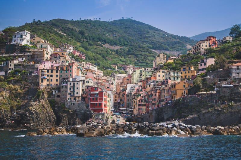 Panorama de Rio Maggiore en Cinque Terre imagen de archivo libre de regalías