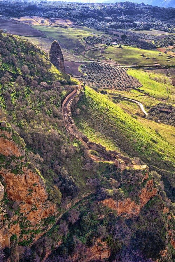 Panorama de Ronda et vue de canyon, Espagne image libre de droits
