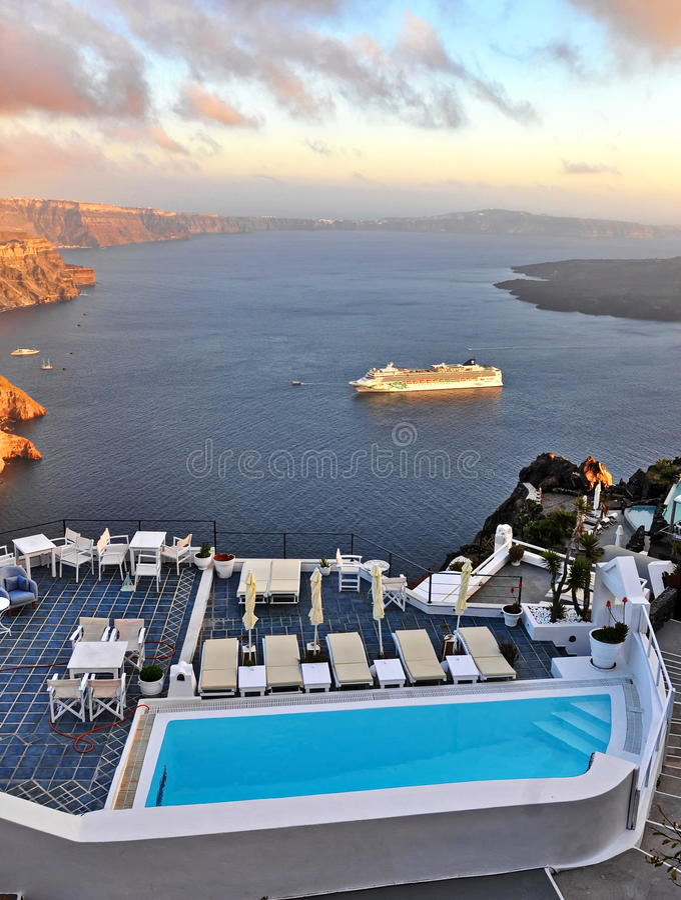 Panorama de Santorini foto de stock royalty free