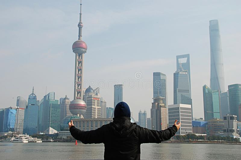 Panorama de Shanghai da barreira imagens de stock royalty free