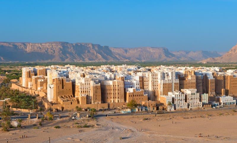 Panorama de Shibam, province de Hadhramaut, Yémen image stock
