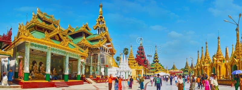 Panorama de Shwedagon serré Zedi Daw, Yangon, Myanmar photo libre de droits